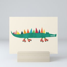 Crocodile on Roller Skates Mini Art Print