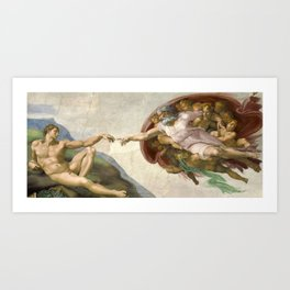 Creation of Adam - Painted by Michelangelo Art Print