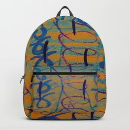 Gold and Blue Patterns Backpack
