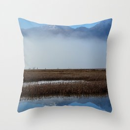 Autumn Mist Reflection Throw Pillow