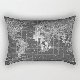 Black and White Vintage World Map Rectangular Pillow