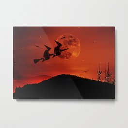 Two witches, one broom Metal Print