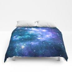 Violet Teal Galaxy Nebula Comforters