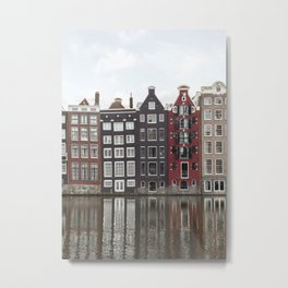 Buildings In Amsterdam City Picture | Dutch Canals Colorful Architecture Art Print | Europe Travel Photography Metal Print