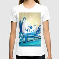 surfboard T-shirts featuring surfboard  background on sky background by Doomko