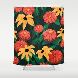 Black Eyed Susan Pattern Shower Curtain