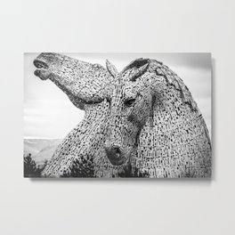 The Kelpies, Water Spirits, Falkirk, The Helix, Scotland black and white photography, 2019 Metal Print