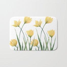Yellow Woodland Tulips Bath Mat