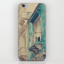 Grunge Summer Town (Retro and Vintage Urban, architecture photography, blue and cream) iPhone Skin