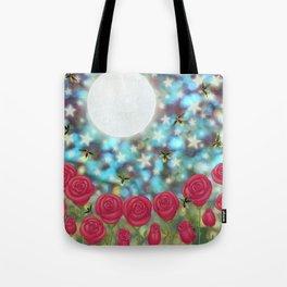the moon, stars, fireflies, & roses Tote Bag