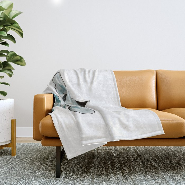 Happy Baby Giraffe // Giraffe In Watercolor Blue and Gray Throw Blanket