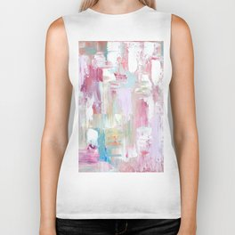 Pink Abstract Painting Biker Tank