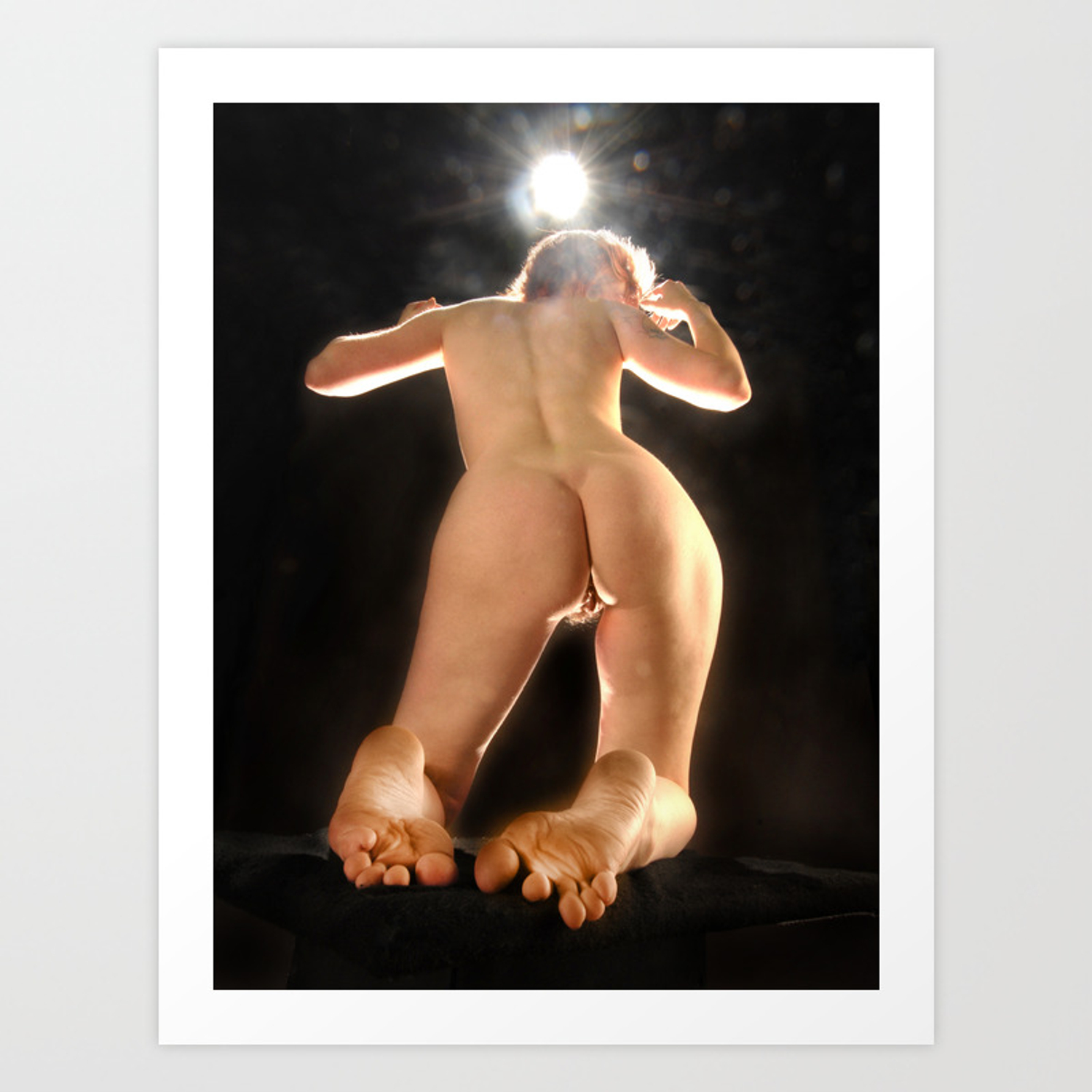 Ams Nude 5936-ams art nude model from below rear view toes feet bum back art print