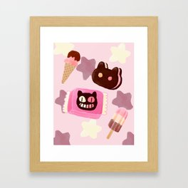 Cookie Cat! He left his family behind! Framed Art Print