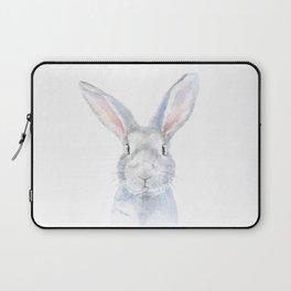 Gray Bunny Rabbit Watercolor Painting Laptop Sleeve