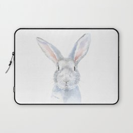 Gray Bunny Rabbit Watercolor Painting Laptop Sleeve