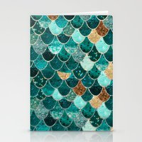 teal Stationery Cards featuring REALLY MERMAID by Monika Strigel