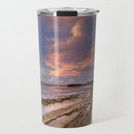 Rocky coast on the island of Curaçao at sunset Travel Mug