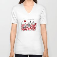 poppies V-neck T-shirts featuring Poppies by Shelby Ticsay