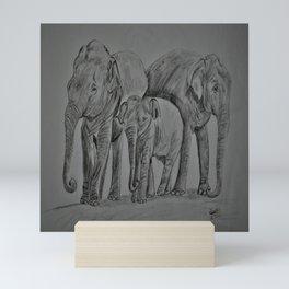 Elephant family Mini Art Print