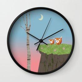 Mama Fox and Kit at Twilight Wall Clock