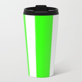 Mixed Vertical Stripes - White and Neon Green Travel Mug