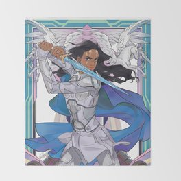 The blue knight Throw Blanket