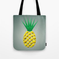 pineapple Tote Bags featuring Pineapple by mailboxdisco