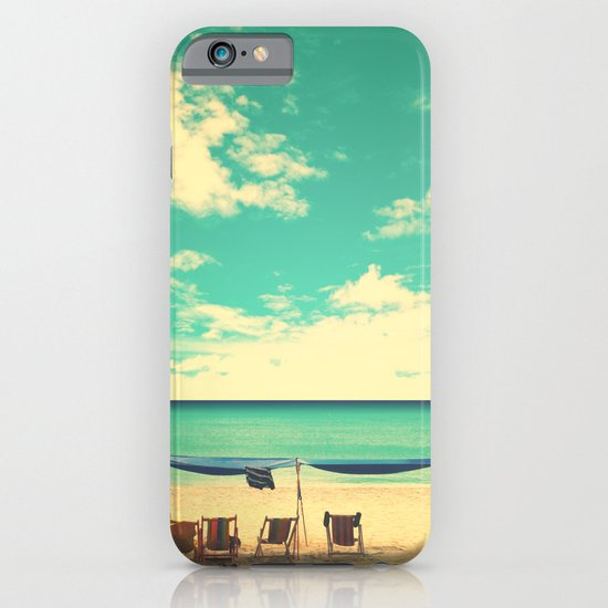 Paradise Beach and Retro Blue Sky  iPhone & iPod Case
