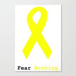 Fear Nothing: Yellow Awareness Ribbon Canvas Print
