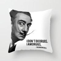 salvador dali Throw Pillows featuring Salvador Dali by Pancho the Macho