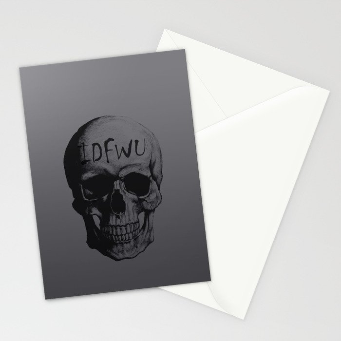 Space Grey IDFWU Skull Stationery Cards