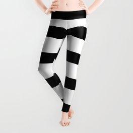 Black Stripes on White Background Leggings