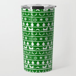 Green & White Nordic Ugly Sweater Christmas Pattern Travel Mug