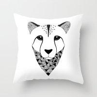cheetah Throw Pillows featuring Cheetah by Art & Be