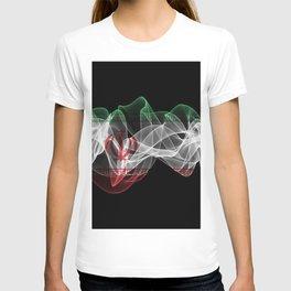 Iran Smoke Flag on Black Background, Iran flag T-shirt