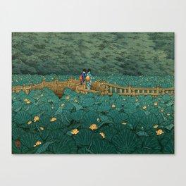 Vintage Japanese Woodblock Print Kawase Hasui Japanese Children Lotus Flowers Garden Wooden Bridge Canvas Print