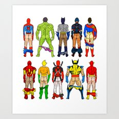 Superhero Butts Art Print