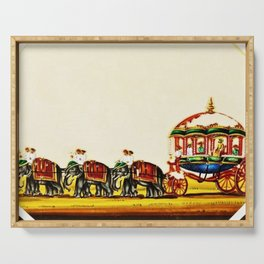 Classical Masterpiece 1820 'Maharaja Elephant-drawn Carriage, Bombay, Indian - Artist Unknown Serving Tray