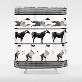 Horses and Lines / B&W Shower Curtain