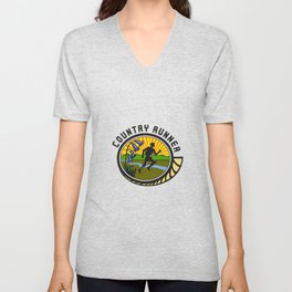 Cross Country Runner Text Oval Retro Unisex V-Neck