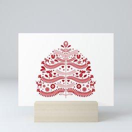 Red Scandinavian Folk Art Christmas Tree Mini Art Print
