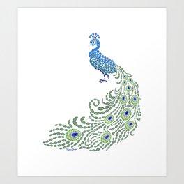 Jeweled Peacock on White Art Print