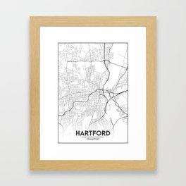 Minimal City Maps - Map Of Hartford, Connecticut, United States Framed Art Print