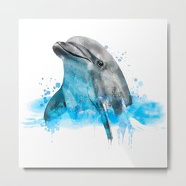 Dolphin Watercolor, Dolphin Painting, Dolphin Gift, Dolphin Poster, Dolphin Print, Dolphin Aquarelle Metal Print