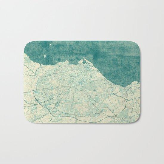 Edinburgh Map Blue Vintage Bath Mat