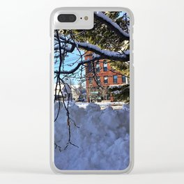 Winter Wonderland in Knightville, South Portland, Maine Clear iPhone Case