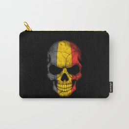 Dark Skull with Flag of Belgium Carry-All Pouch