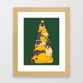 Christmas Tree Pugs Framed Art Print