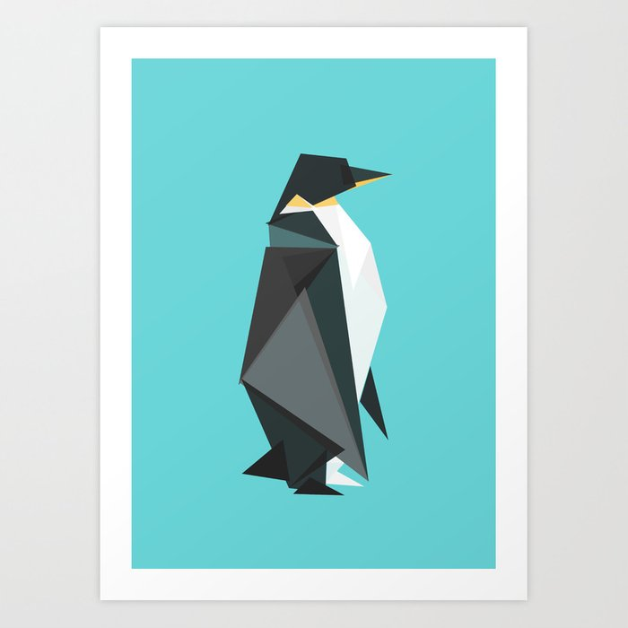 Fractal geometric emperor penguin Kunstdrucke